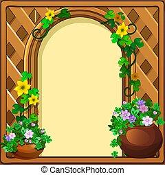 美麗, 漂亮, 圖片, 或者, illustration., 形式, 空間, 木制框架, 特寫鏡頭, 相片, 卡通, flowers., 矢量, 正文, 新鮮, 裝飾, 編織, 你, 卡片, 問候