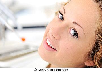 美麗, 牙醫, 婦女, 年輕, 辦公室