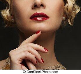 美麗, 特寫鏡頭, 婦女, 射擊, 臉, 嘴唇, 紅色