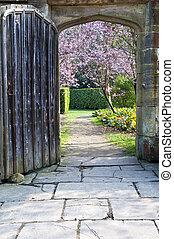 美麗, 石頭, 老, 花, 春天, 拱道, 樹, 木制, 新鮮, 透過, 看見, 門