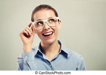 美麗, 穿, 婦女眼睛, 事務, 白色, 眼鏡