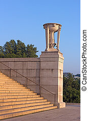 美麗, 粉紅色, 林肯, 華盛頓, 紀念館, 三腳架, buttress., 步驟, dc., 早晨, 大理石