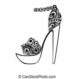 美麗, 裝飾品, 涼鞋, 黑色, 植物, 裝飾, 白色