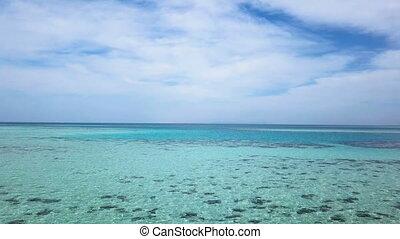 美麗, 高度, 空中, shoot., wave., 陽光, 海洋, 高, 海, 在下面, clouds., 晴朗