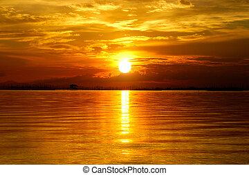 美麗, 黃金, 云霧, sky., 傍晚, twilight.