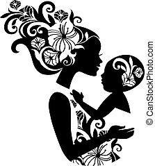 美麗, sling., 黑色半面畫像, 插圖, 嬰孩, 母親, 植物