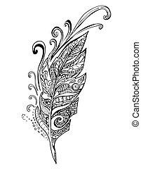 羽毛, 心不在焉地亂寫亂畫, 鳥, 插圖, 矢量
