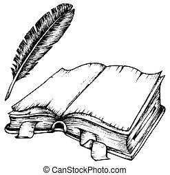 羽毛, 書, 打開, 圖畫