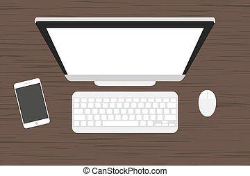 老鼠, 監控, 電腦, 桌子。, 木制, 鍵盤, smartphone, 工作場所