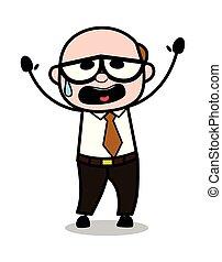 老, 幫助, 辦公室, -, 插圖, 老板, 矢量, retro, 卡通, 人