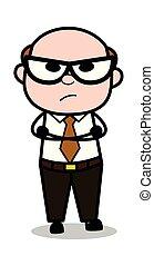 老, 心情, 辦公室, 憤怒, -, 插圖, 老板, 等待, 矢量, retro, 卡通, 人