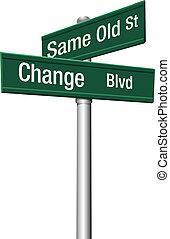 老, 決定, 同樣, 街道, 選擇, 或者, 變化