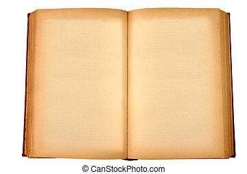 老, 沾污, 黃色, 書, 空白, 頁