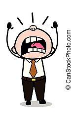 老, 辦公室, -, 插圖, 老板, 矢量, retro, 尖聲叫, 卡通, 人