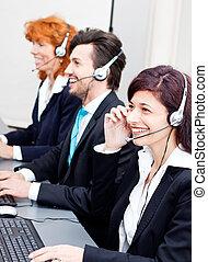 耳機, 支持, 微笑, 代理, callcenter