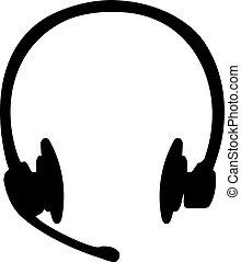 耳機, 黑色半面畫像, callcenter