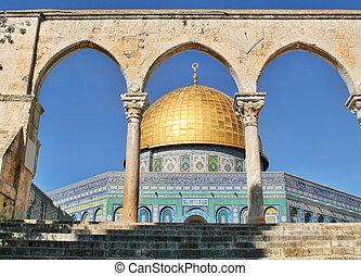 耶路撒冷, rock., israel., 圓屋頂