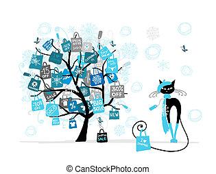 聖誕節, 時裝, 購物, 樹, 銷售, 貓, 袋子, 設計, 你
