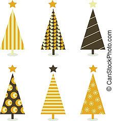 聖誕節, 白色, 樹, 被隔离, retro