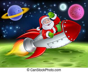 聖誕老人, 卡通, 插圖, 火箭, 空間