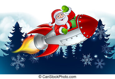 聖誕老人, 卡通, 火箭, 聖誕節