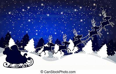 聖誕老人, 天空, 針對, 樹, 背景, 夜晚, sleigh, 聖誕節, 風景, 冬天