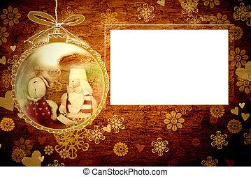 聖誕老人, 框架, 圣誕節卡片