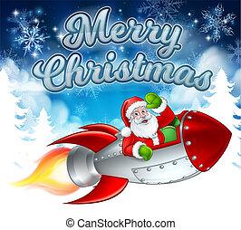 聖誕老人, 火箭, 克勞斯, 卡通, 歡樂的聖誕節
