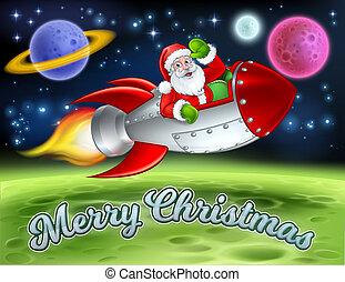聖誕老人, 火箭, 空間, 卡通, 歡樂的聖誕節