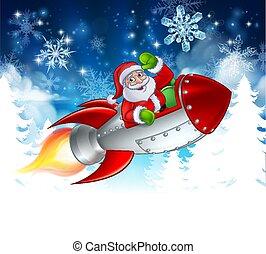 聖誕老人, 聖誕節, 火箭, 卡通
