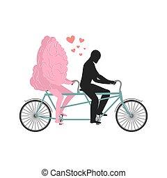 聯接, 中央, cycling., 情人, 步行, 器官, bicycle., 勞易斯勞萊斯, 人, 浪漫, 腦子, system., 日期, 頭腦, tandem., 緊張