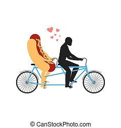 聯接, 步行, 快, sausage., 街道, bicycle., 熱, tandem., 膳食。, 勞易斯勞萊斯, 浪漫, 狗食物, 會合, 情人, 插圖, 人, cycling., undershot