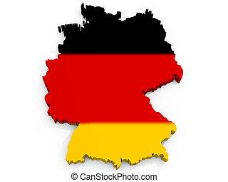 聯邦, 地圖, 旗, 共和國, 德國