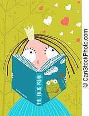 聰明, 仙女, 女孩, 很少, 故事, 書, 漂亮, 閱讀
