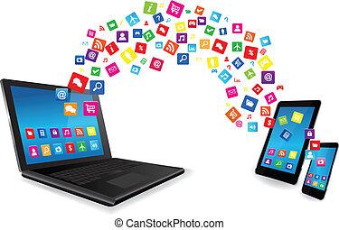聰明, 片劑, apps, 電話, 膝上型, 個人電腦