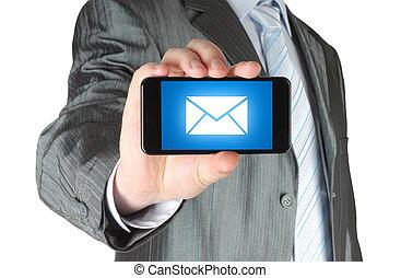 聰明, 藏品, 消息, 移動電話, 人, 屏幕