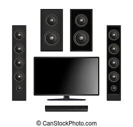 聲音, 套間, 控制台, 監控, 屏幕, 多媒體, 系統, 現實, 矢量, 影像, tv., 數字, 發言者, 血漿
