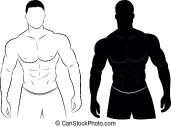 肌肉, 黑色半面畫像, 人