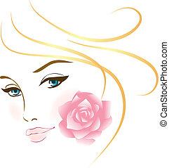 肖像, 女孩, 美麗, 臉