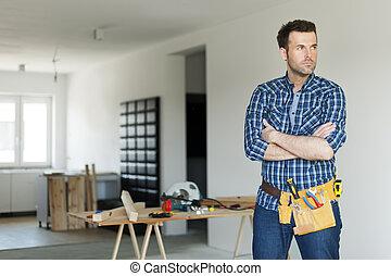 肖像, 建設, 集中, 工人