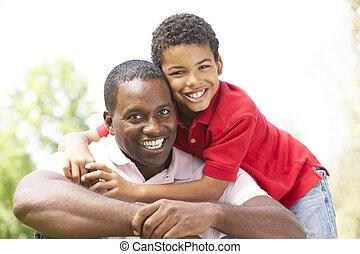 肖像, 父親, 公園, 兒子