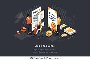 股票, 婦女, 人們, 矢量, 人說明, portfolio., 証券, 契約, 形成, 等量, 投資, 事務, concept.