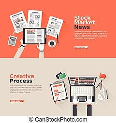 股票, 過程, 創造性, 設計, 套間, 市場
