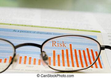 股票, 顯示, 眼鏡, 風險, 圖表