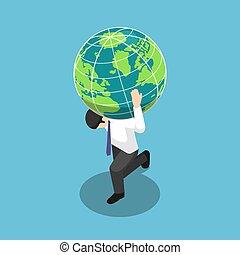 肩, 等量, 他的, 全球, 商人, 運載, 世界, 地球, 或者