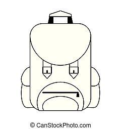背包, 被隔离, 卡通, 黑色, 白色, 符號