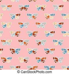 背景圖形, 矢量, 蝴蝶, 鏽, 藍色, 臉紅, 粉紅色, seamless, 黃色, 形狀