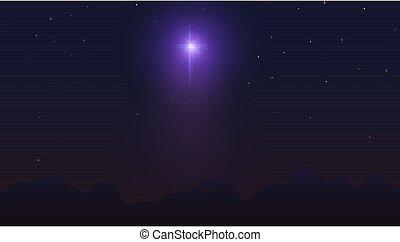 背景。, 不滿星星的, 摘要, 插圖, 矢量, 山。, 黑暗, 星, bethlehem, 在上方, sky., 夜晚