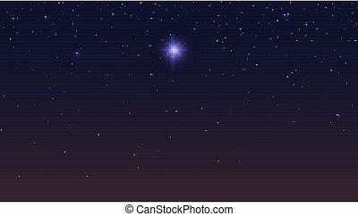 背景。, 不滿星星的, 摘要, 插圖, 矢量, 黑暗, 星, bethlehem, sky., 夜晚