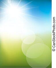 背景, 光, 摘要, 陽光普照, vector., 綠色